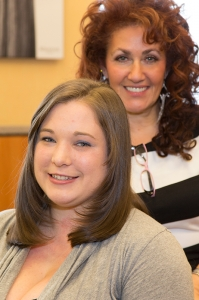 "Stephanie Dodge donated her hair at the 2013 Hennessey Hair ""Do"" with help from stylist Maria Karimani."
